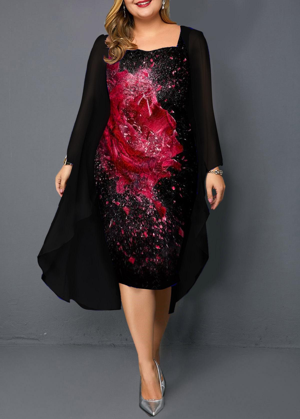 Plus Size Black Chiffon Cardigan and Flower Print Dress