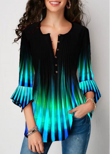 Flare Sleeve Crinkle Chest Stripe Print Blouse