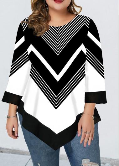 Plus Size Printed Asymmetric Hem Three Quarter Sleeve T Shirt