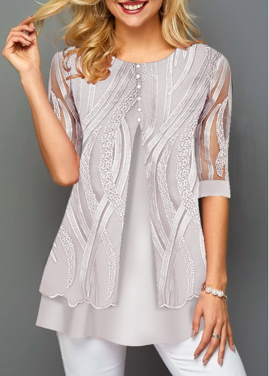 Half Sleeve Lace Panel Faux Two Piece T Shirt