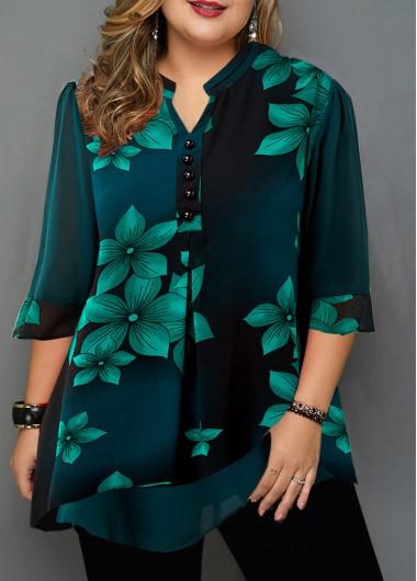 Plus Size Button Detail Large Floral Print Blouse