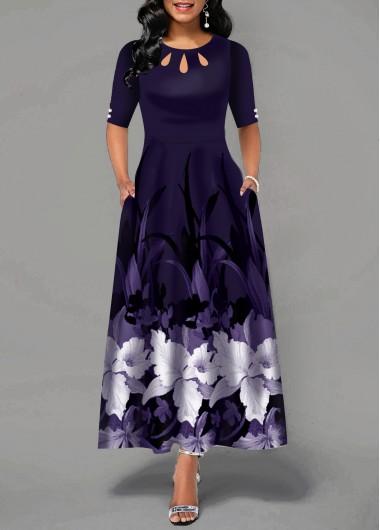 Half Sleeve Flower Print Button Detail Maxi Dress