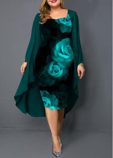 Plus Size Chiffon Cardigan and Flower Print Dress