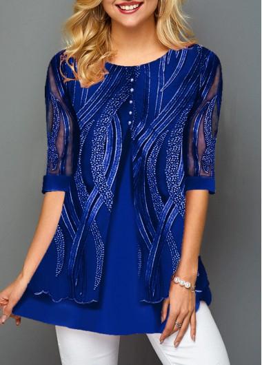 Lace Panel Layered Hem Button Detail T Shirt   Rotita.com - USD $32.50