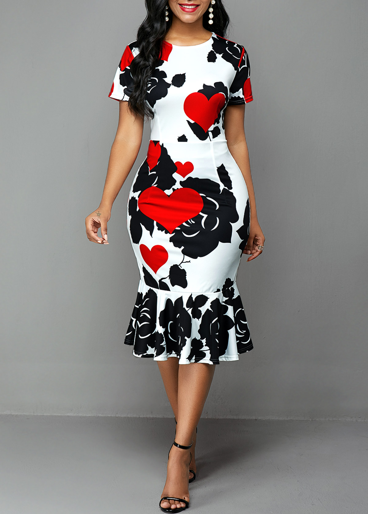 ROTITA Round Neck Rose and Heart Print Dress