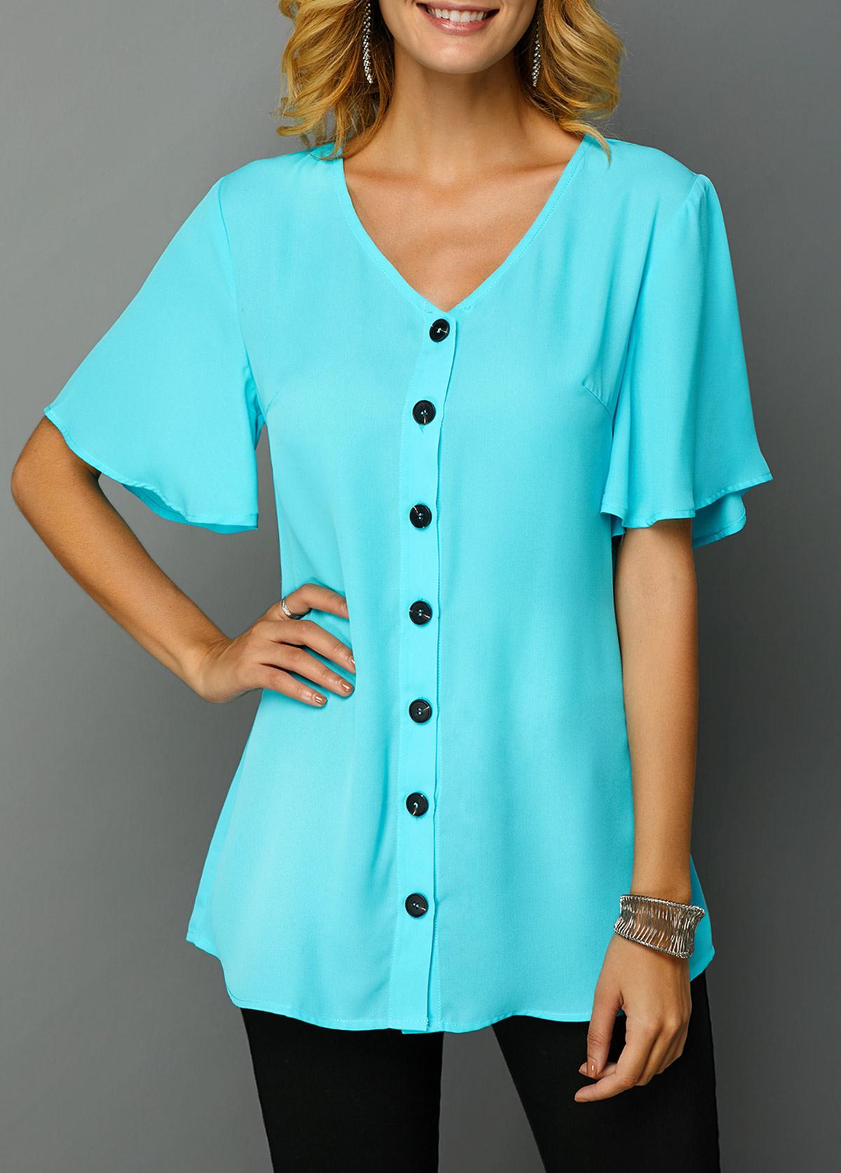 Button Up V Neck Short Sleeve T Shirt