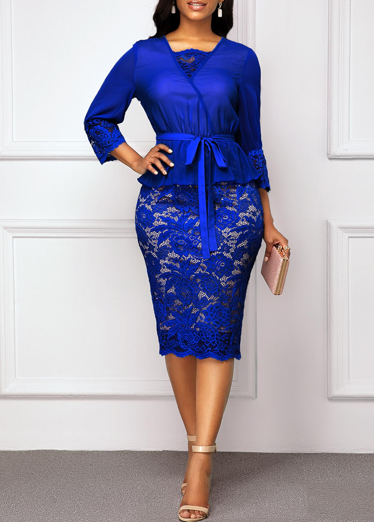 Three Quarter Sleeve Royal Blue Belted Lace Dress