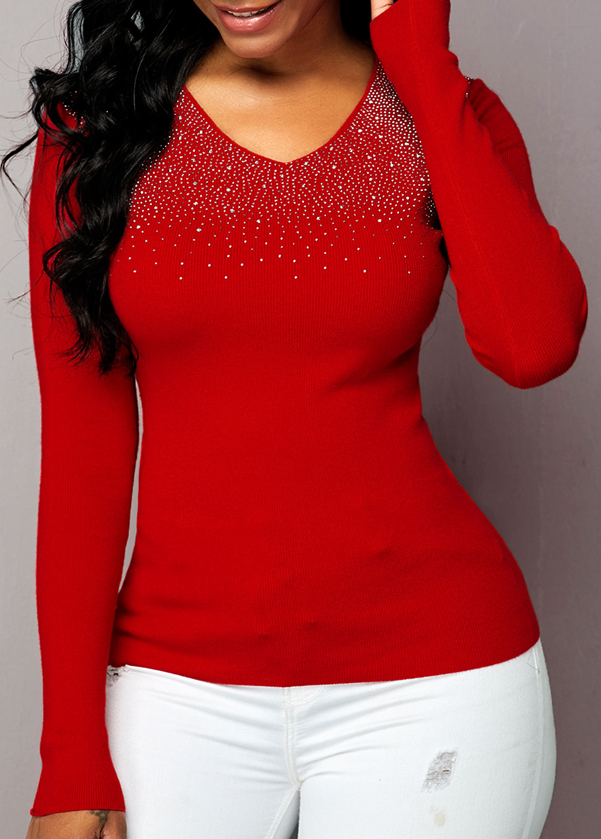 Rhinestone Detail Red Long Sleeve Sweater