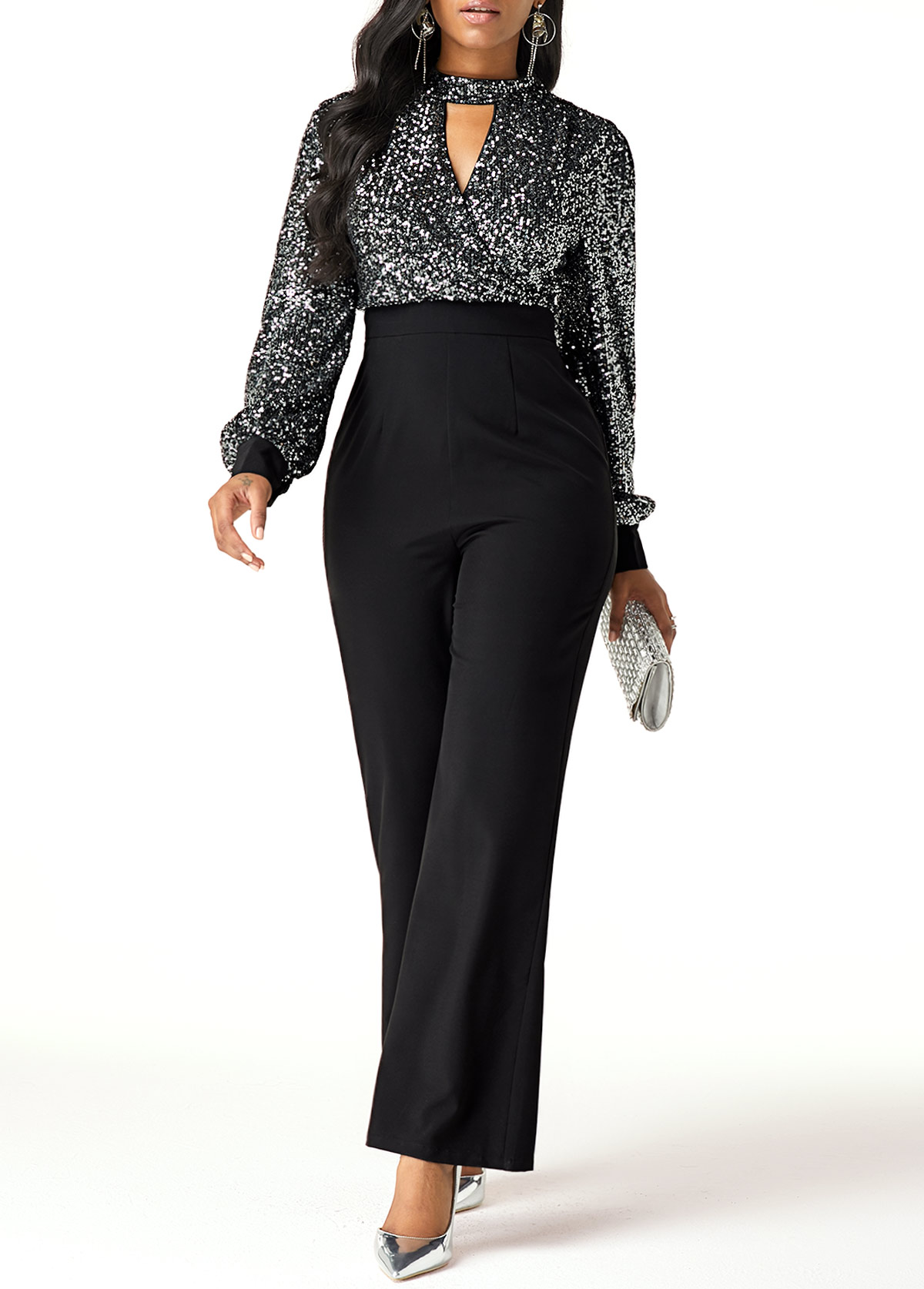 High Waist Sequin Embellished Cutout Front Jumpsuit