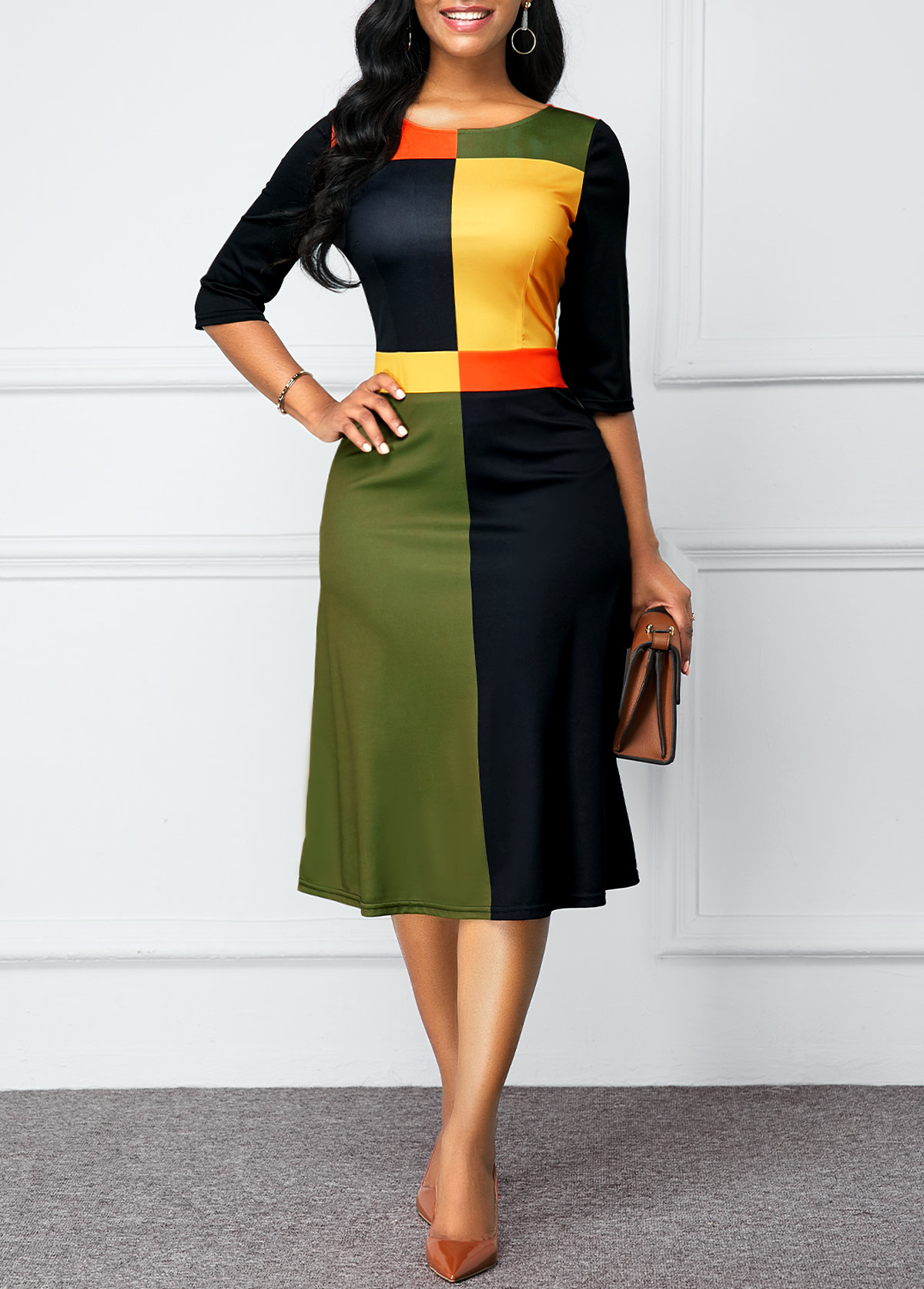 ROTITA Round Neck Color Block Zipper Back Dress