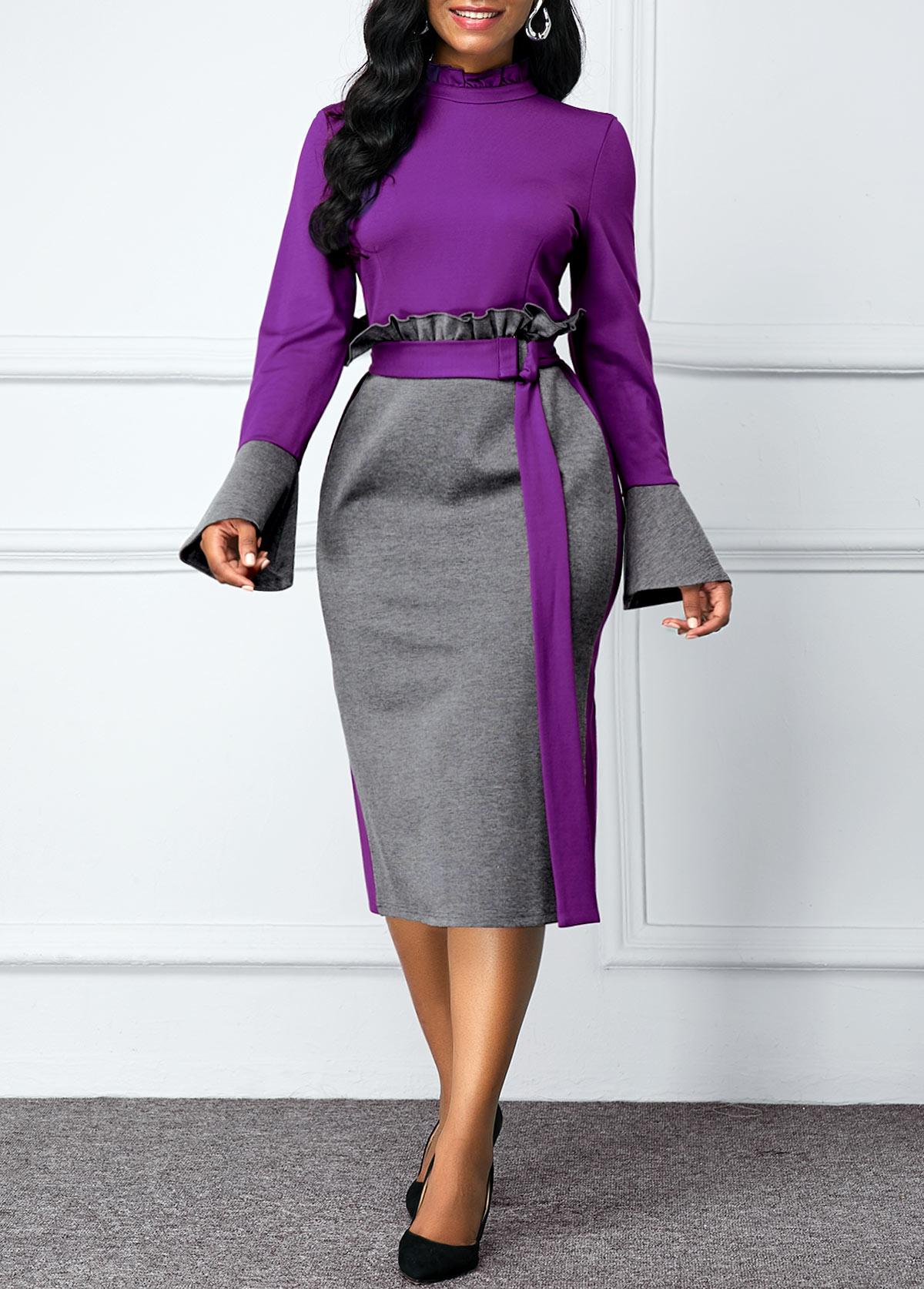 Color Block Belted Flare Sleeve Dress