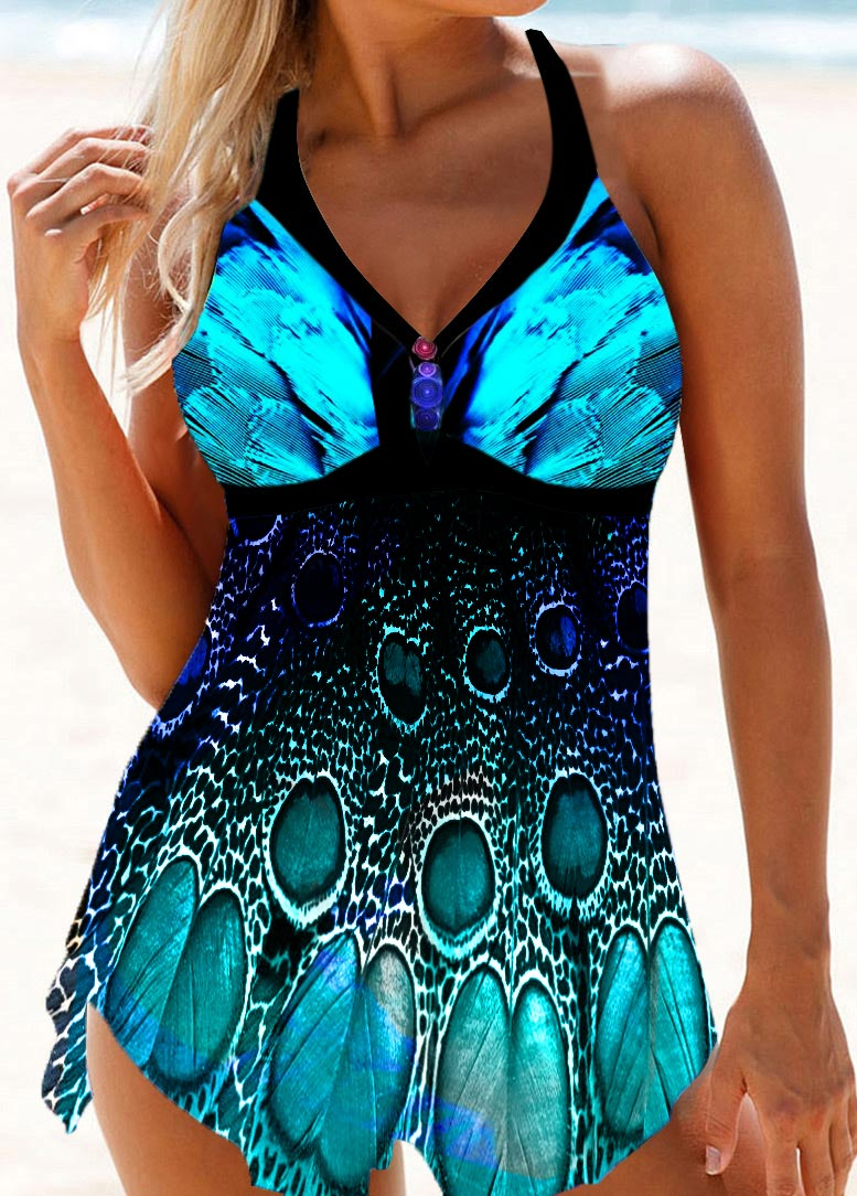 Peacock Feather Print Halter Swimdress and Panty