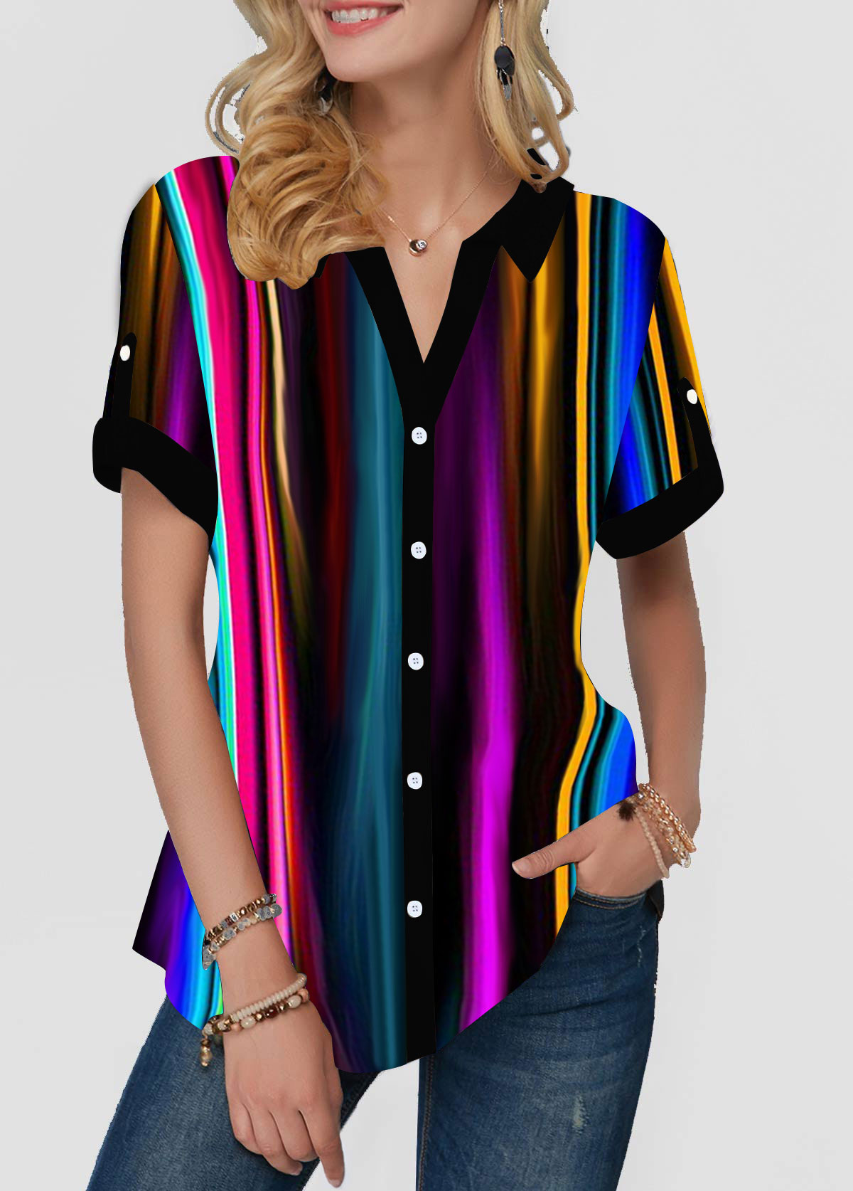 Multicolor Striped Short Sleeve Button Front Blouse