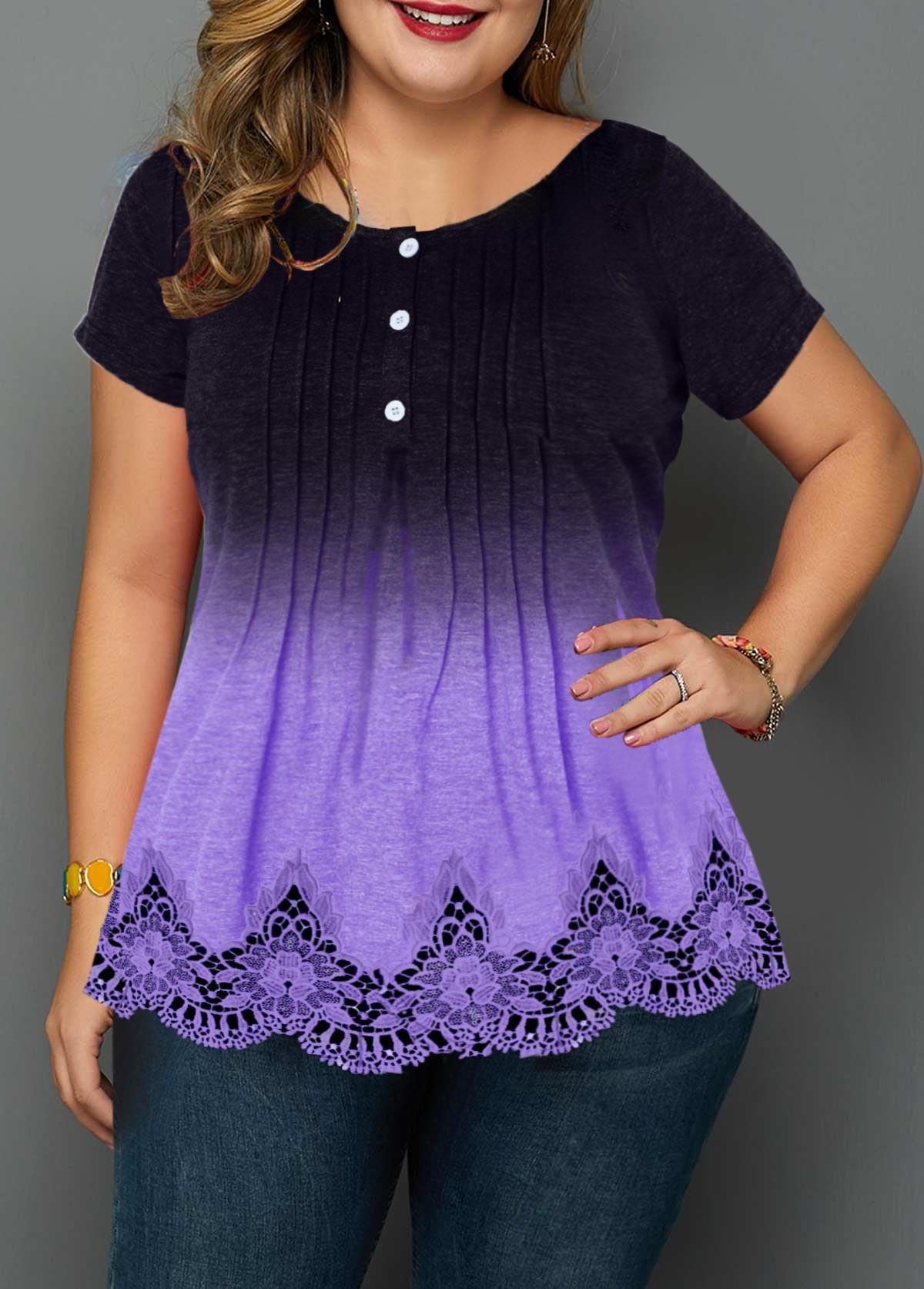 Plus Size Crinkle Chest Lace Patchwork Button Detail Blouse