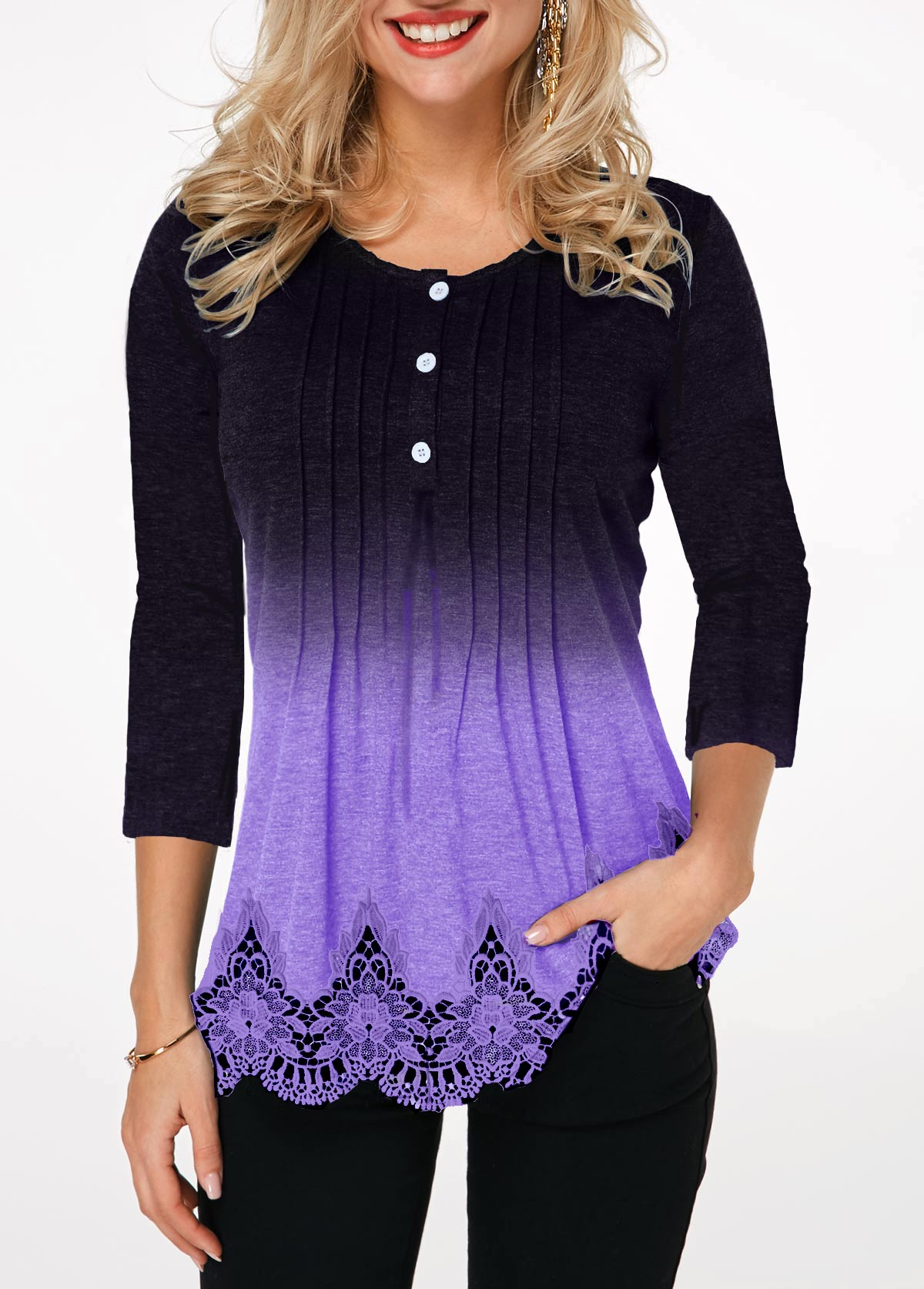 Lace Panel Crinkle Chest Button Detail T Shirt
