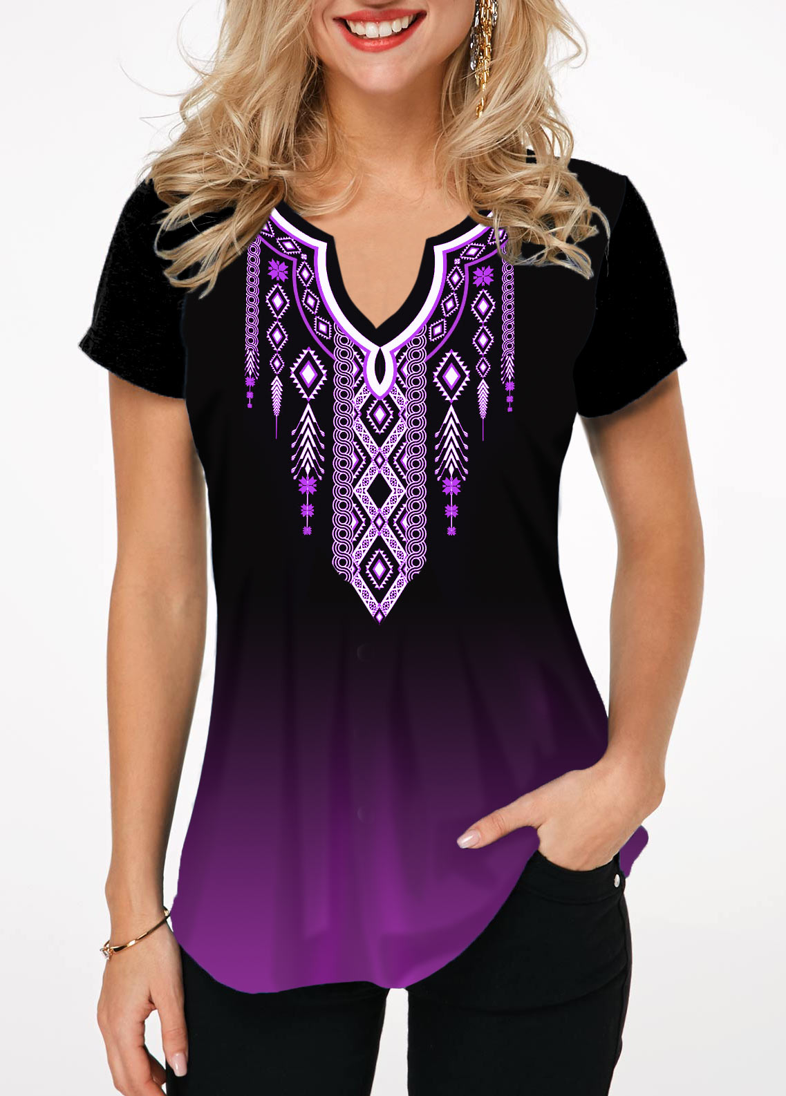 Tribal Print Short Sleeve Notch Neck T Shirt
