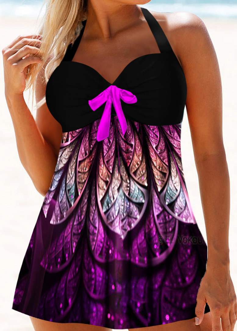 Bowknot Detail Halter Neck Printed Swimdress and Panty