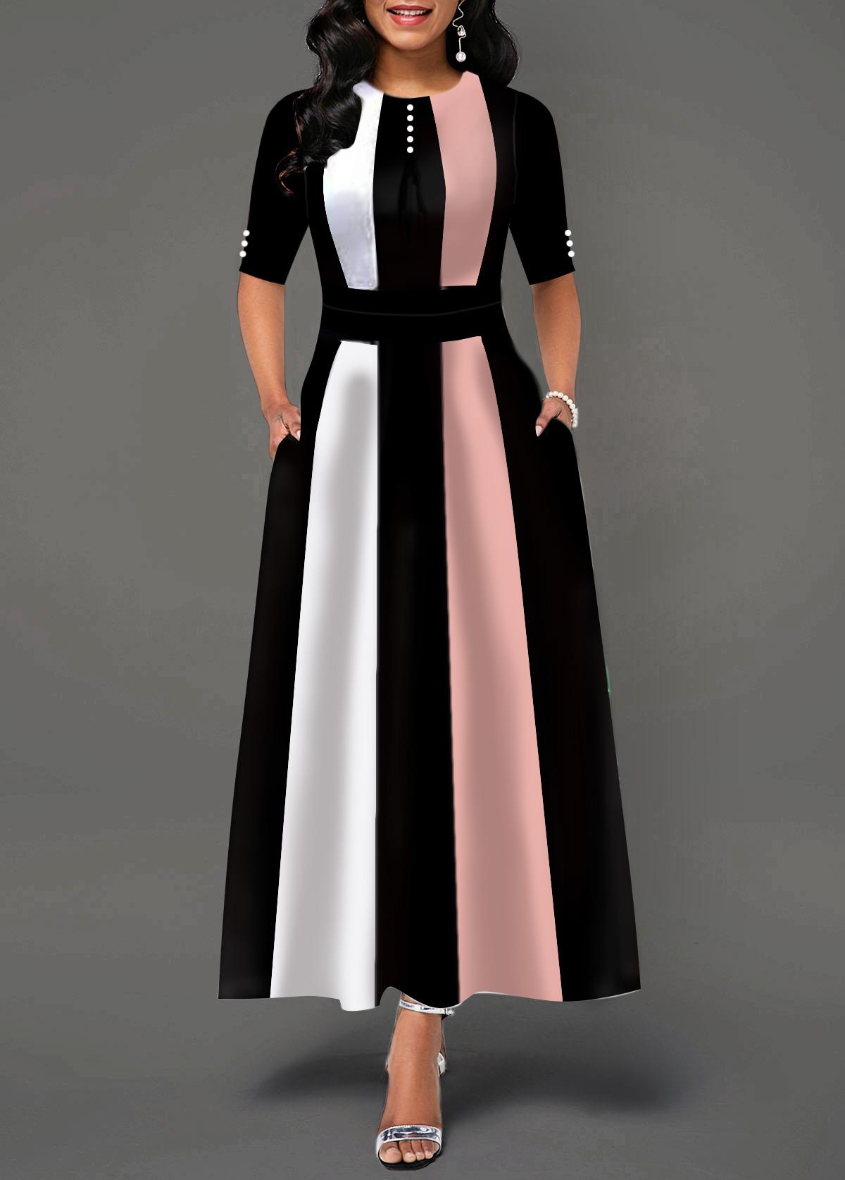 High Waist Color Block Button Detail Maxi Dress