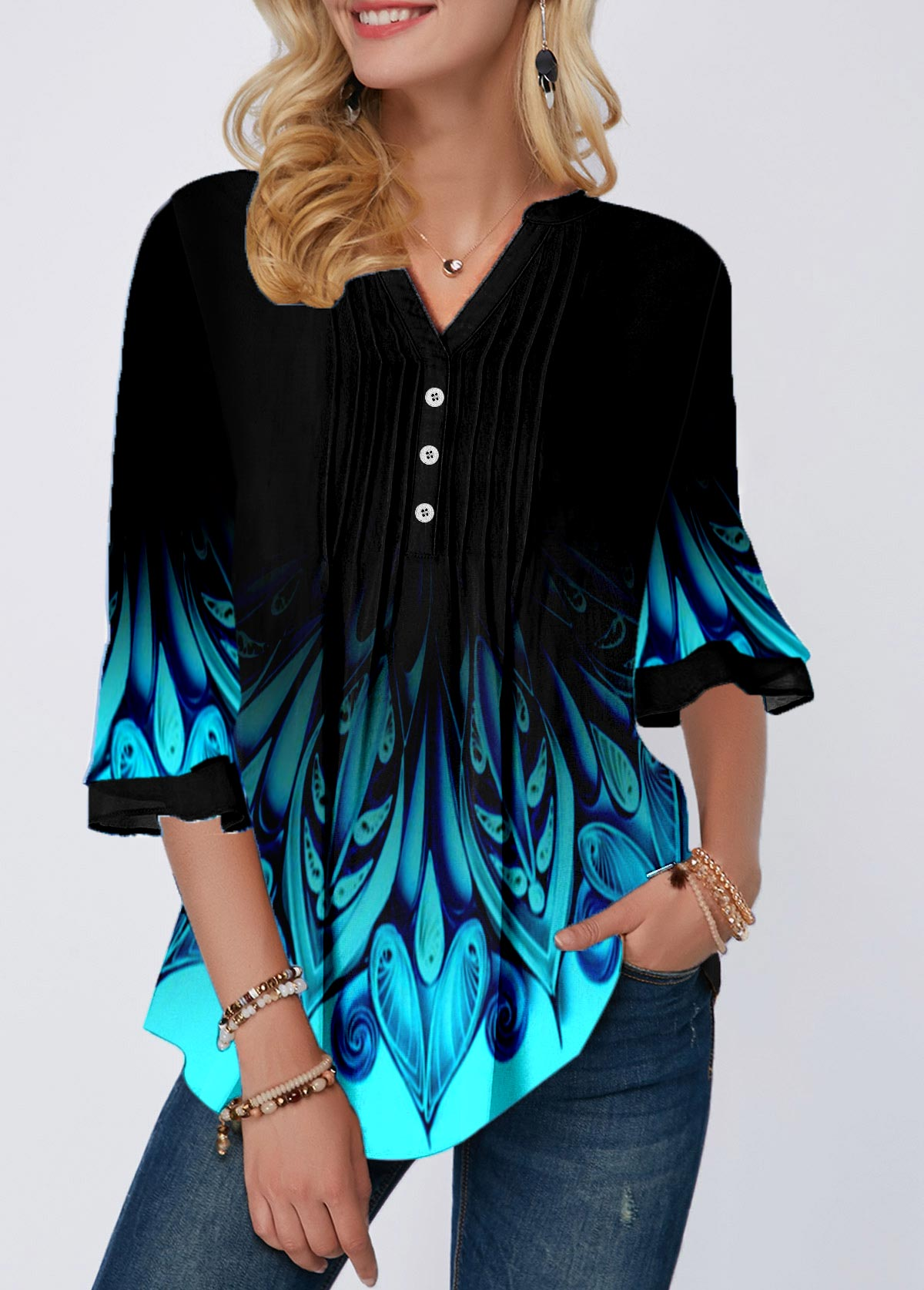 Tribal Print Split Neck Crinkle Chest Blouse