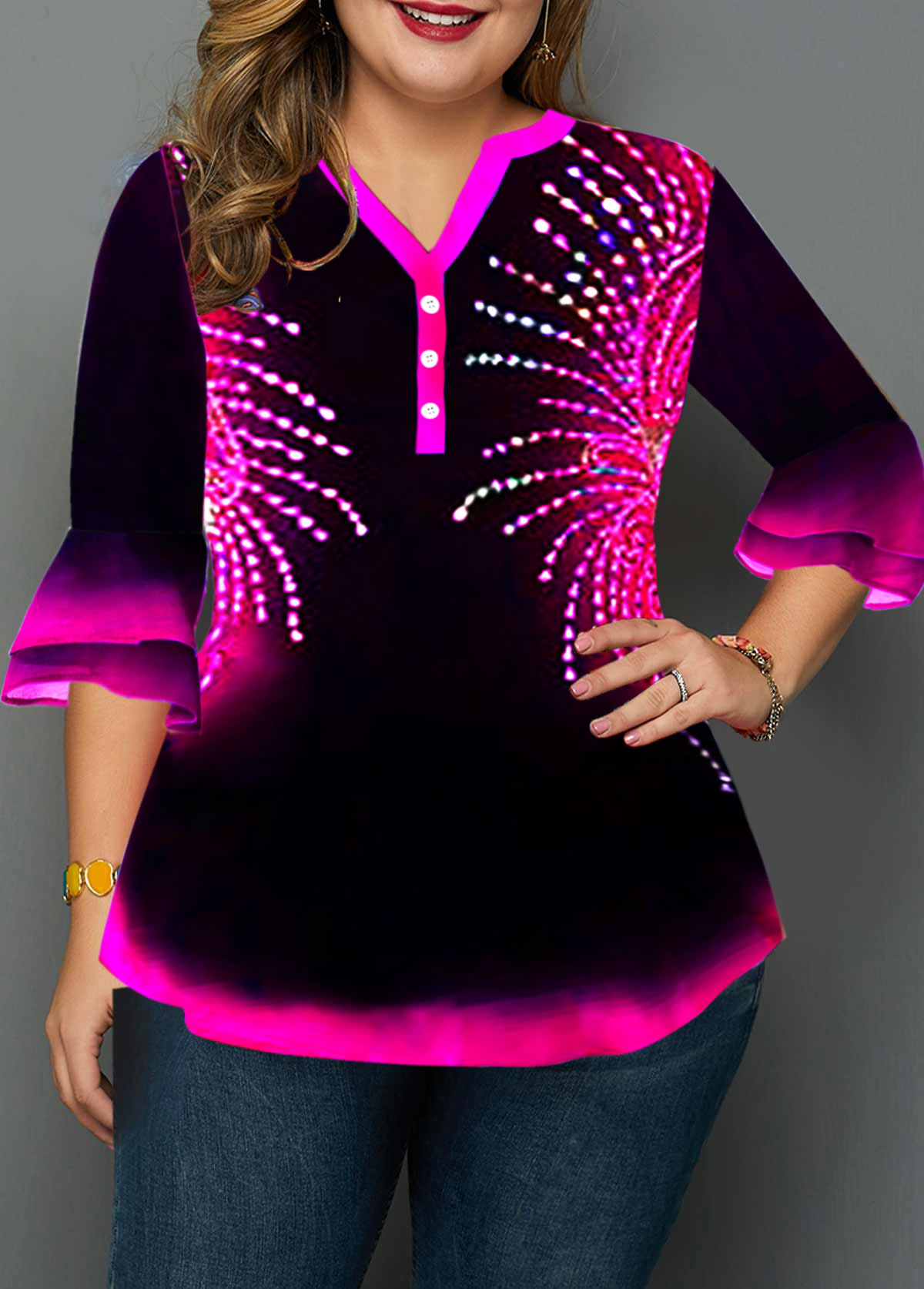 Plus Size Button Detail Layered Flare Cuff Printed Blouse