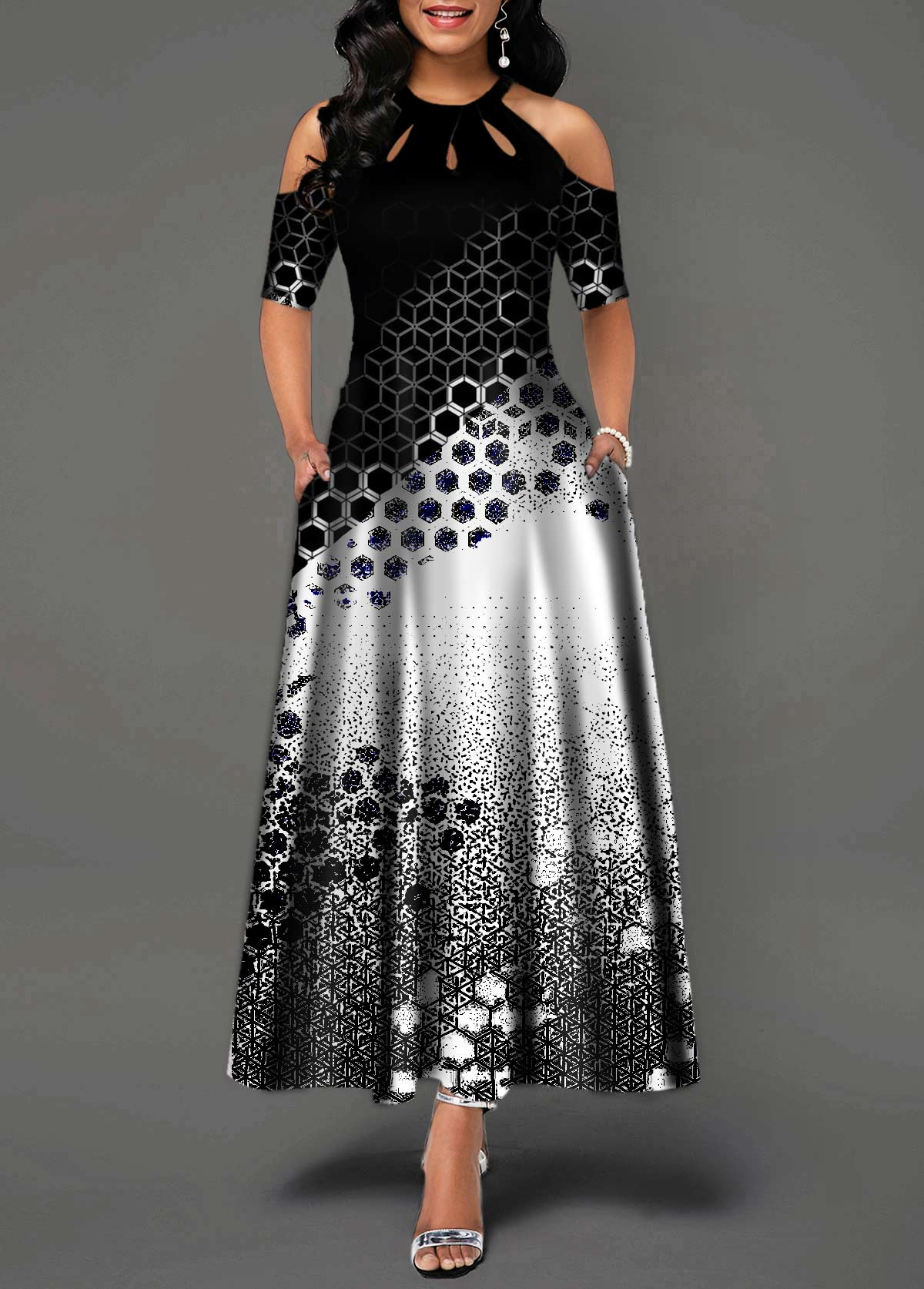 Geometric Print Bib Neck Cold Shoulder Maxi Dress