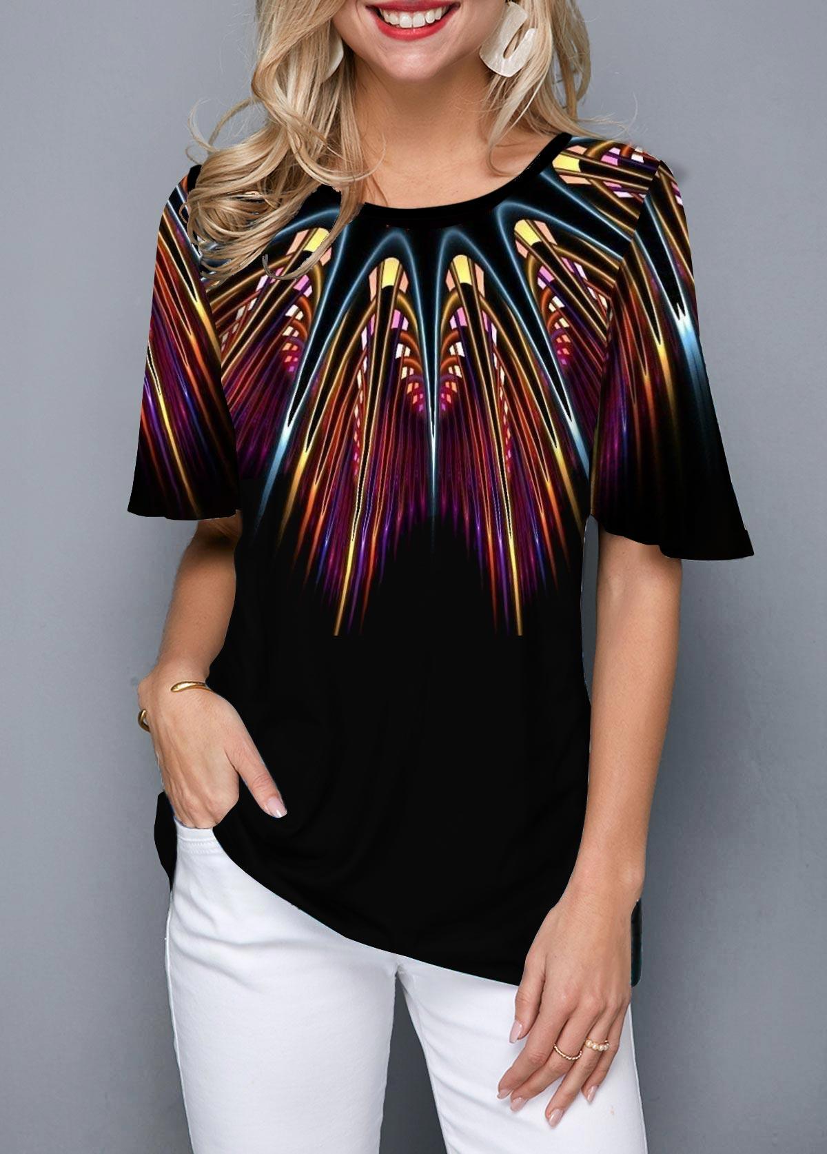 Half Sleeve Round Neck Printed T Shirt