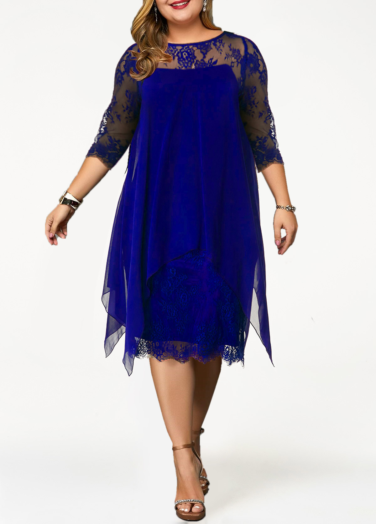 Chiffon Overlay Lace Panel Plus Size Dress