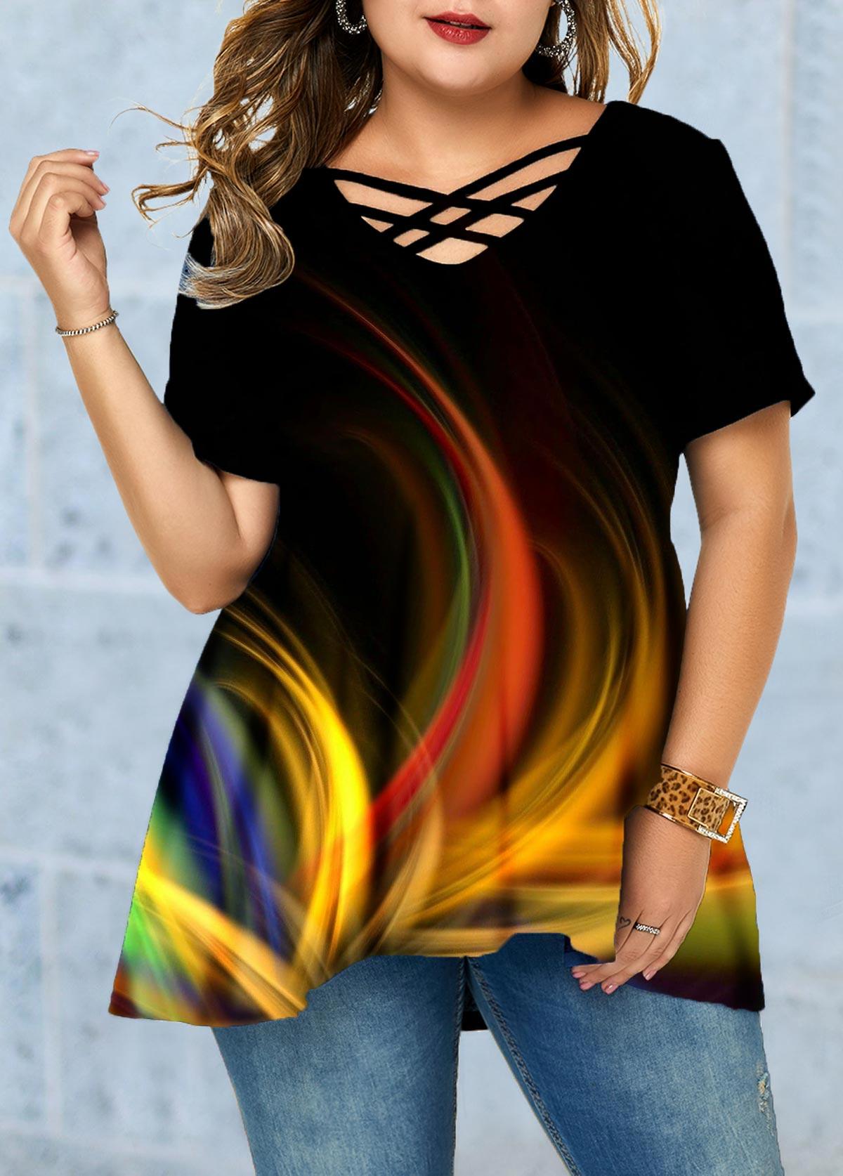 Plus Size Printed Lattice Front Gradient T Shirt