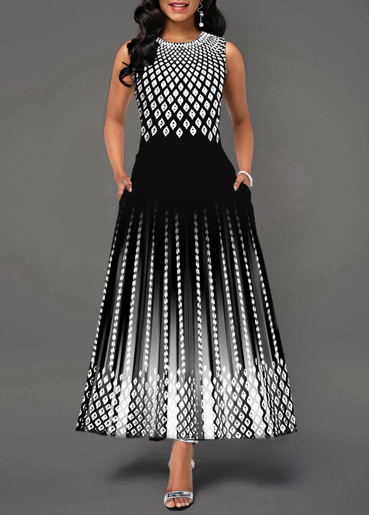 Round Neck Sleeveless High Waist Dress
