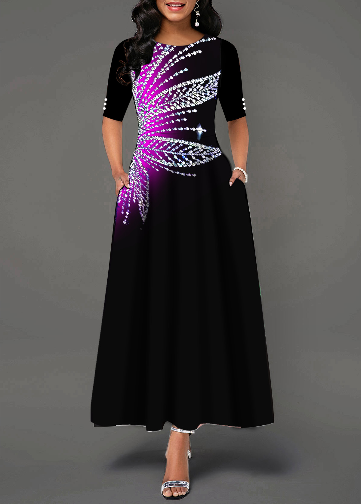 Round Neck Printed Short Sleeve Maxi Dress
