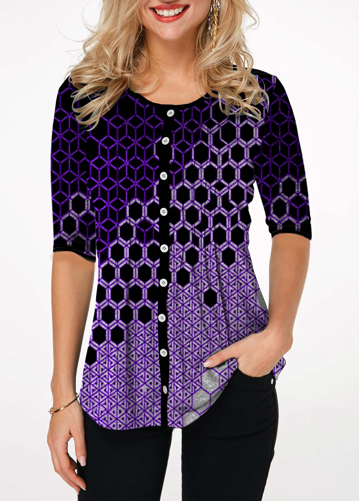 Geometric Print Half Sleeve Button Up T Shirt