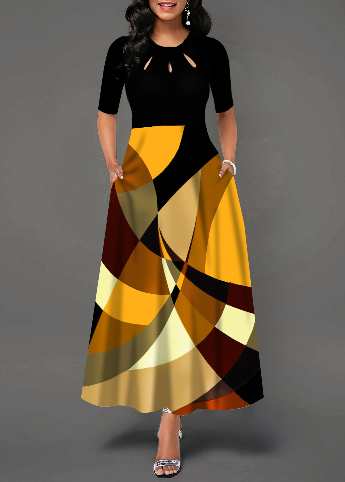 Half Sleeve Geometric Print Pocket Maxi Dress