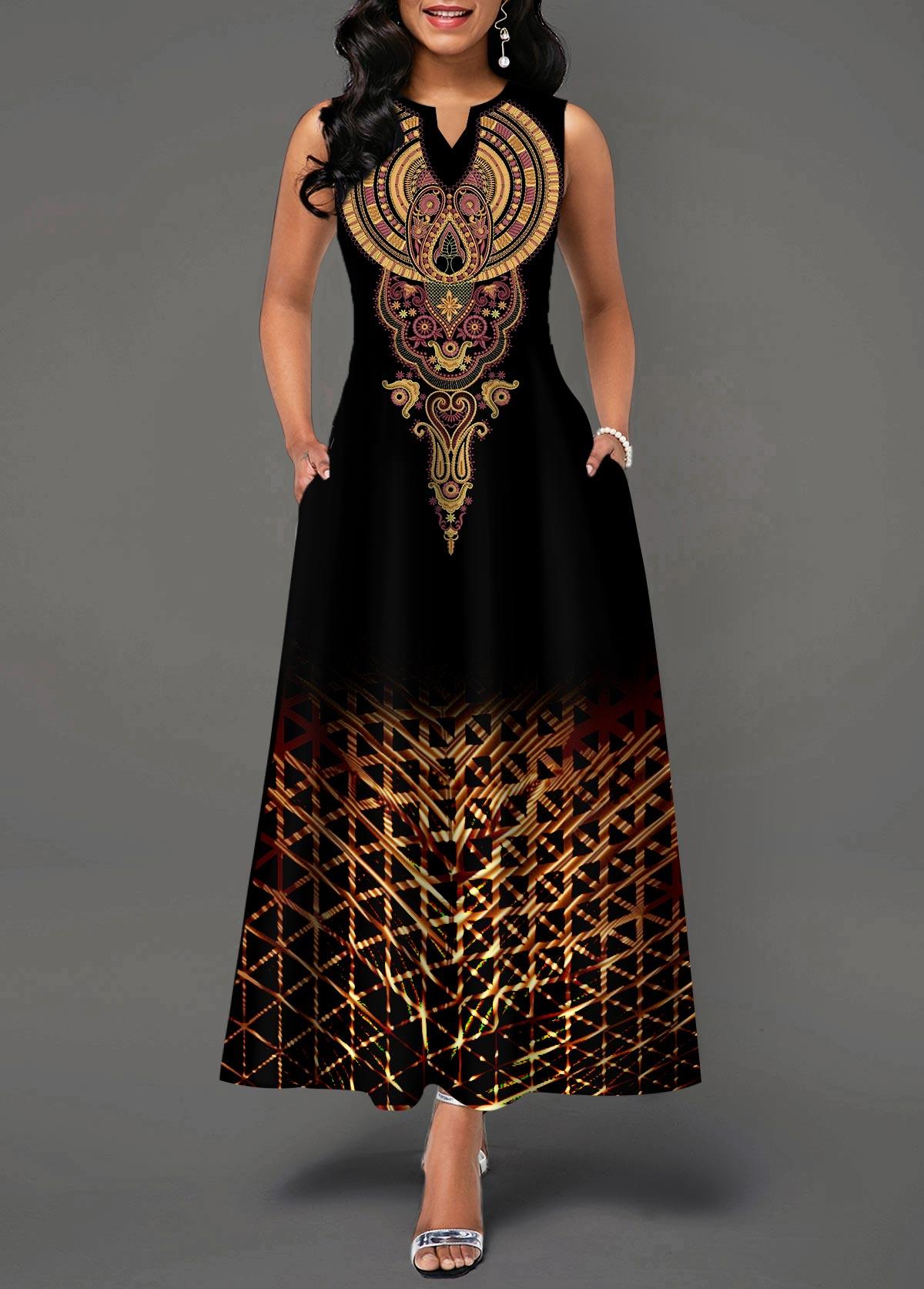 Split Neck High Waist Sleeveless Dress