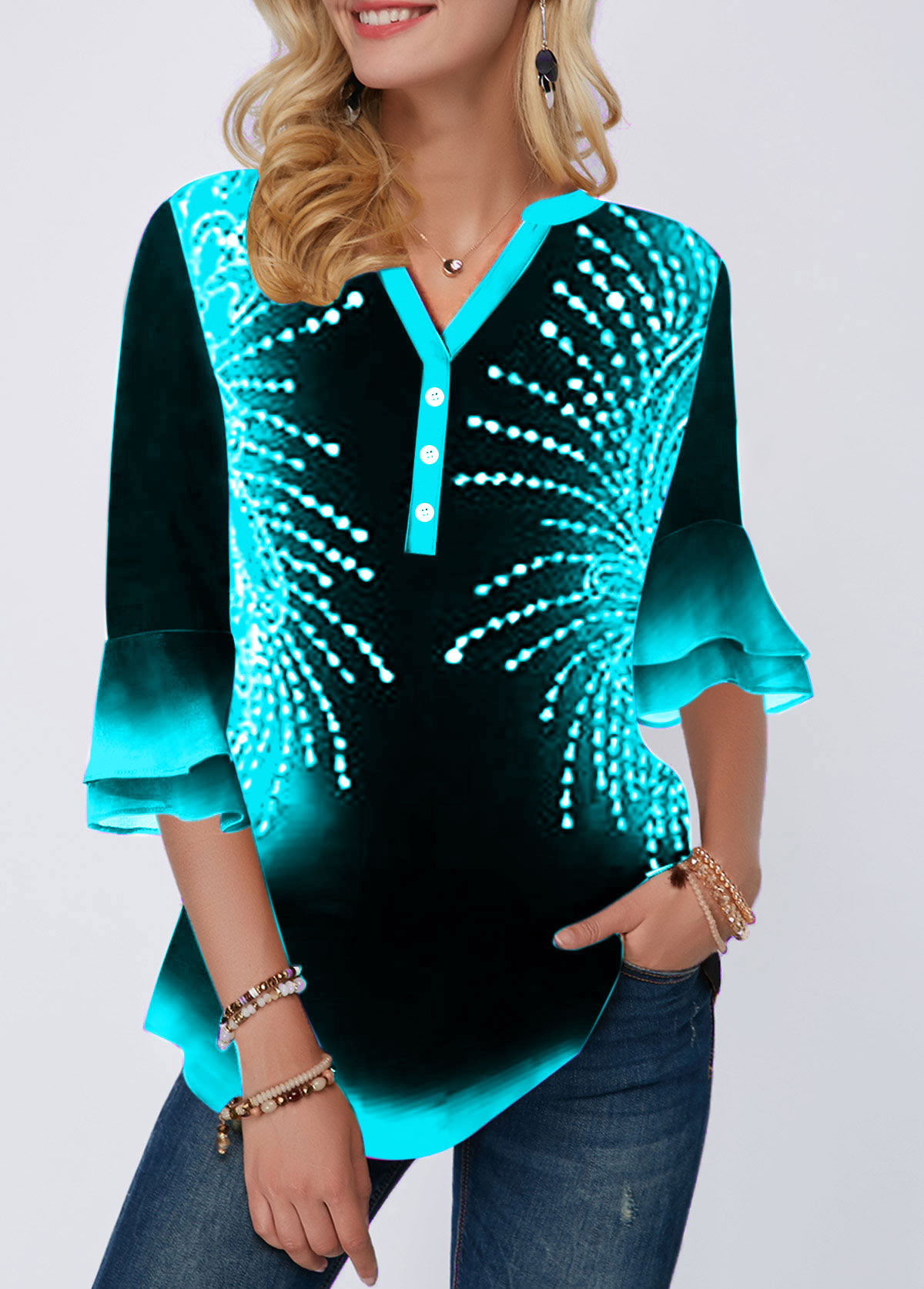 Printed Flare Cuff Button Detail Blouse