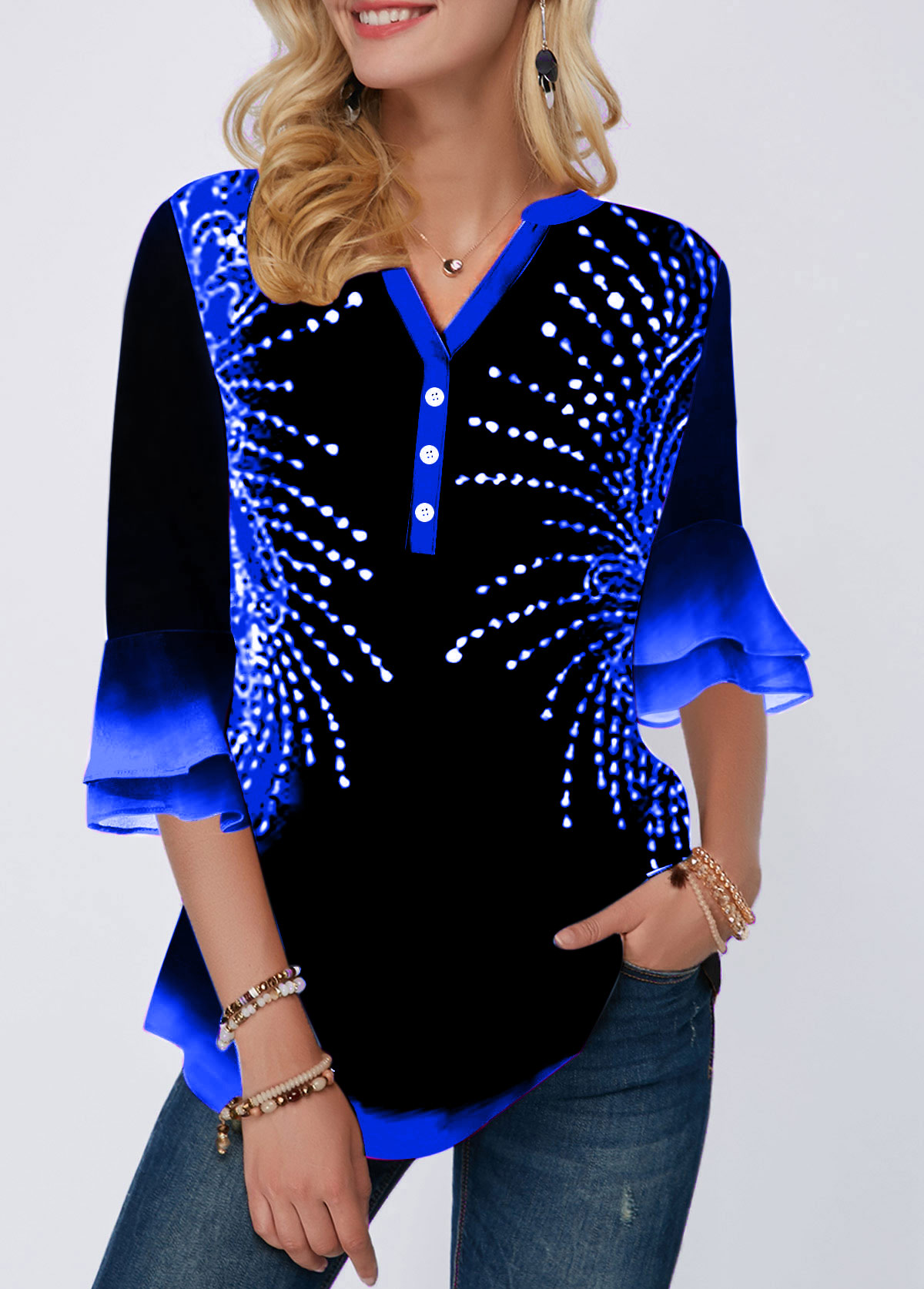 Flare Cuff Button Detail Printed Blouse
