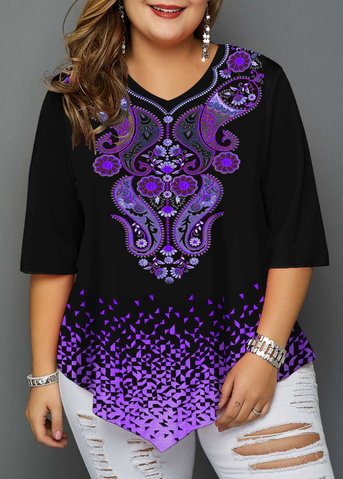 Plus Size Asymmetric Hem Paisley Print T Shirt