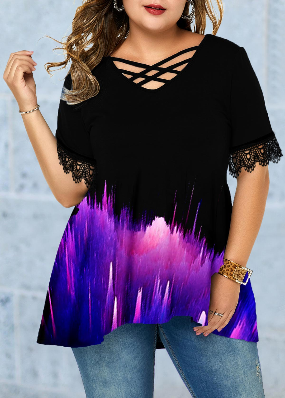 Lace Panel Printed Plus Size T Shirt