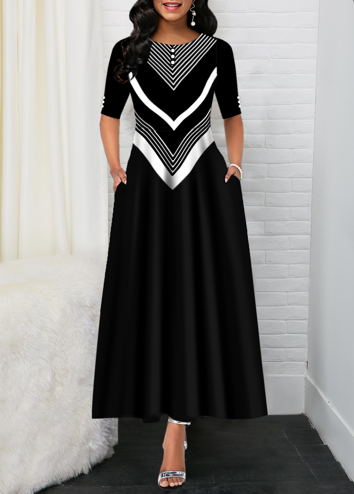 Chevron Print Black Back Zipper Maxi Dress