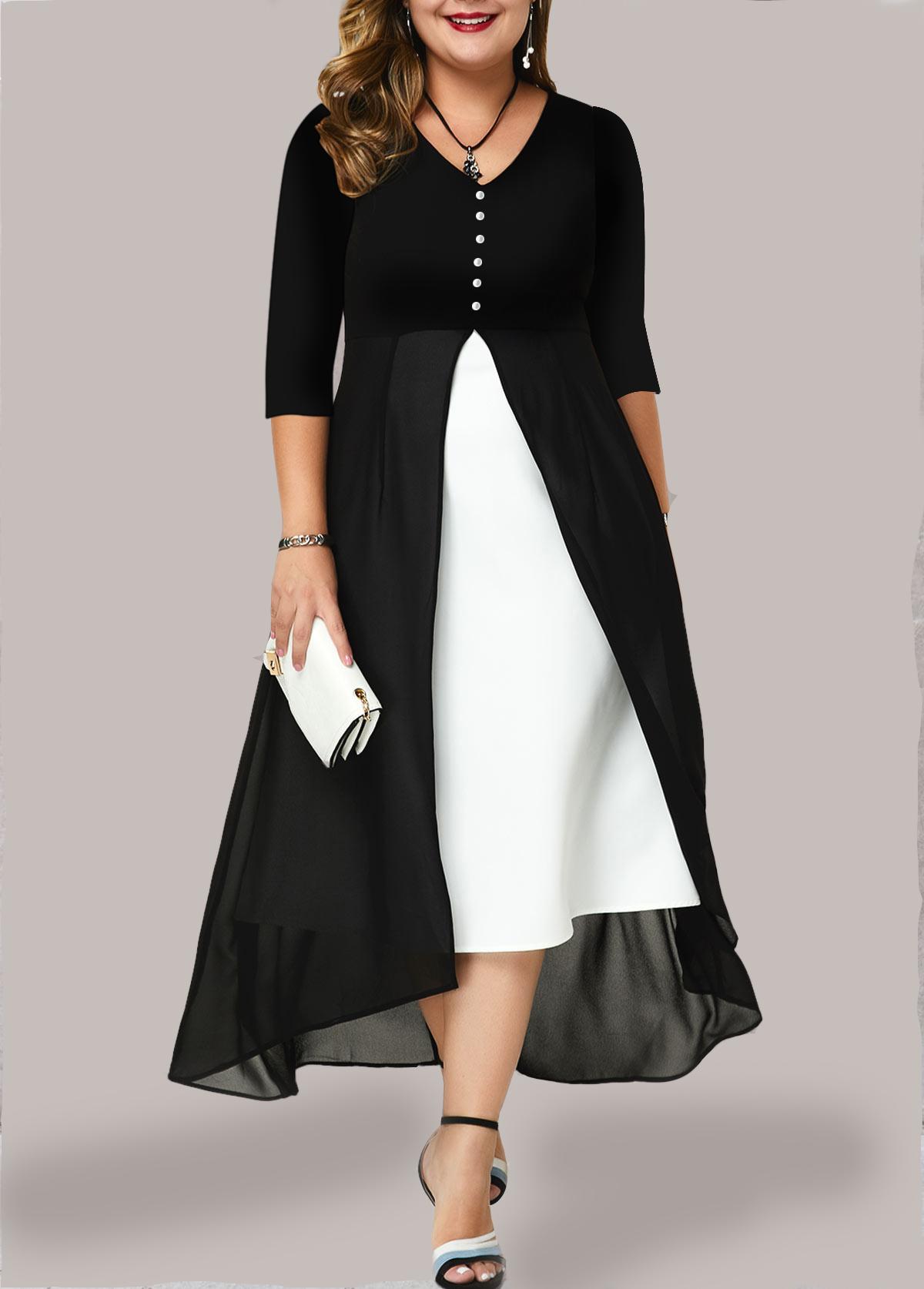 Plus Size V Neck Chiffon Panel Maxi Dress
