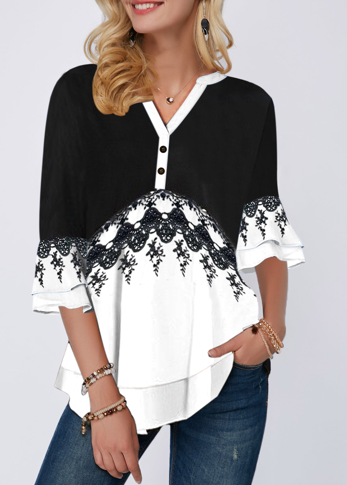 Split Neck Button Detail Layered Bell Sleeve Blouse