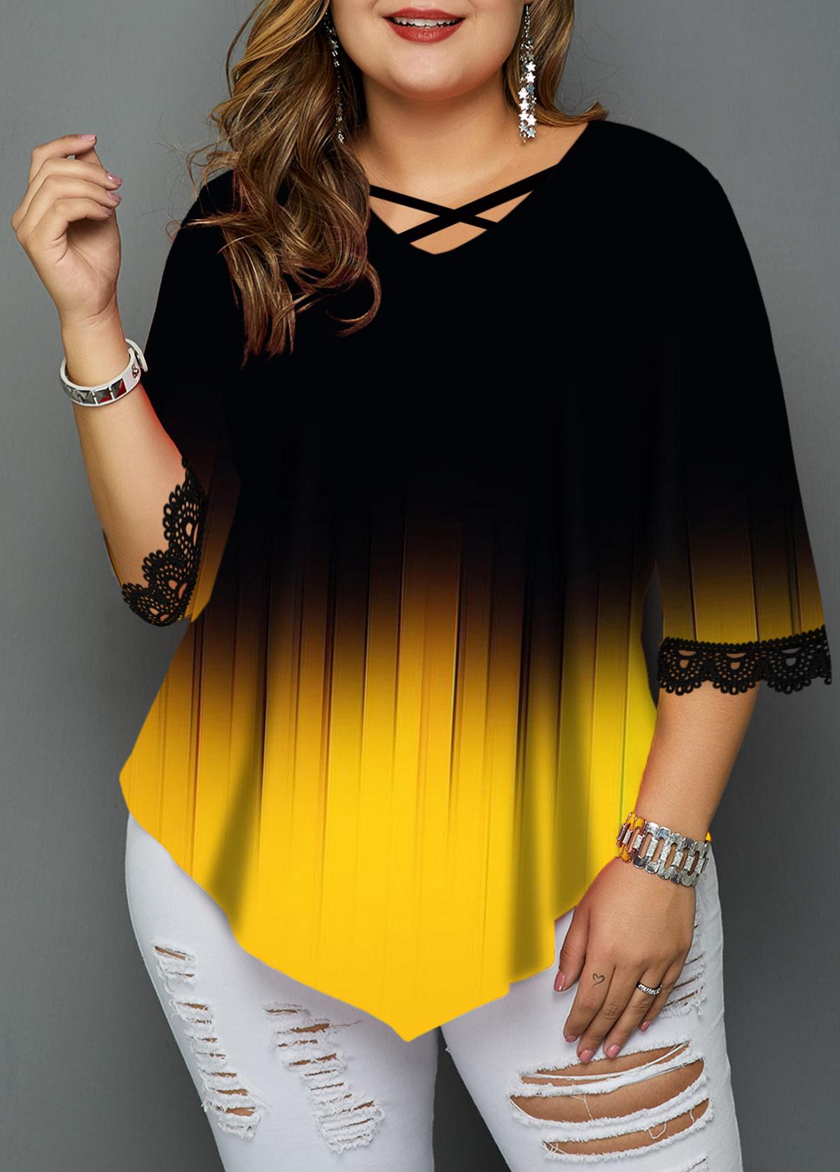 Plus Size Gradient Cross Strap Lace Panel T Shirt
