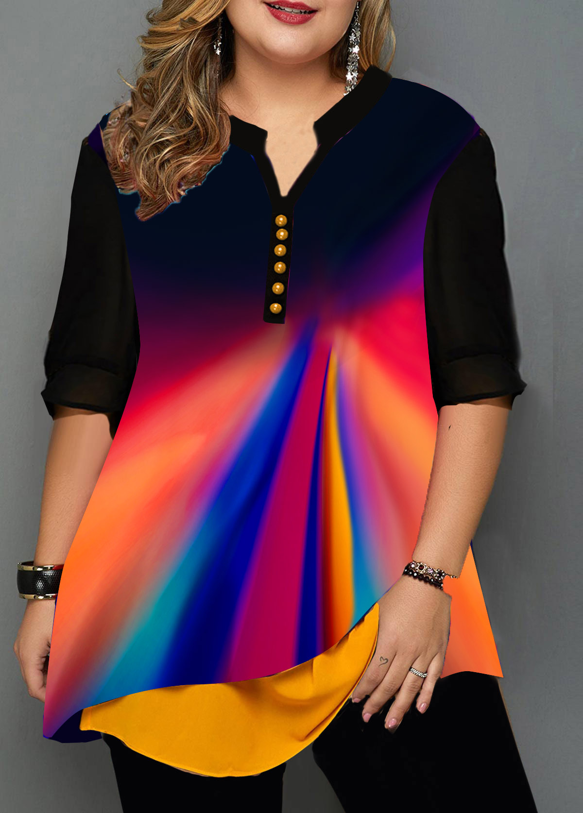 Plus Size Split Neck Printed Button Detail T Shirt