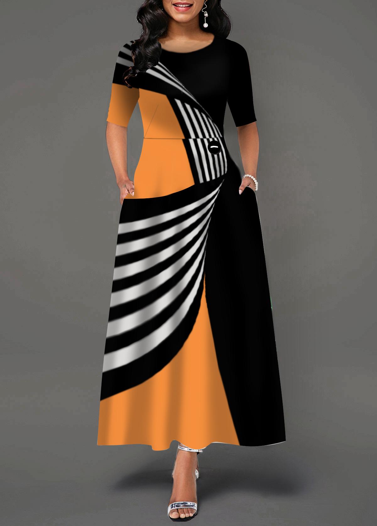 Pocket Color Block Round Neck Dress