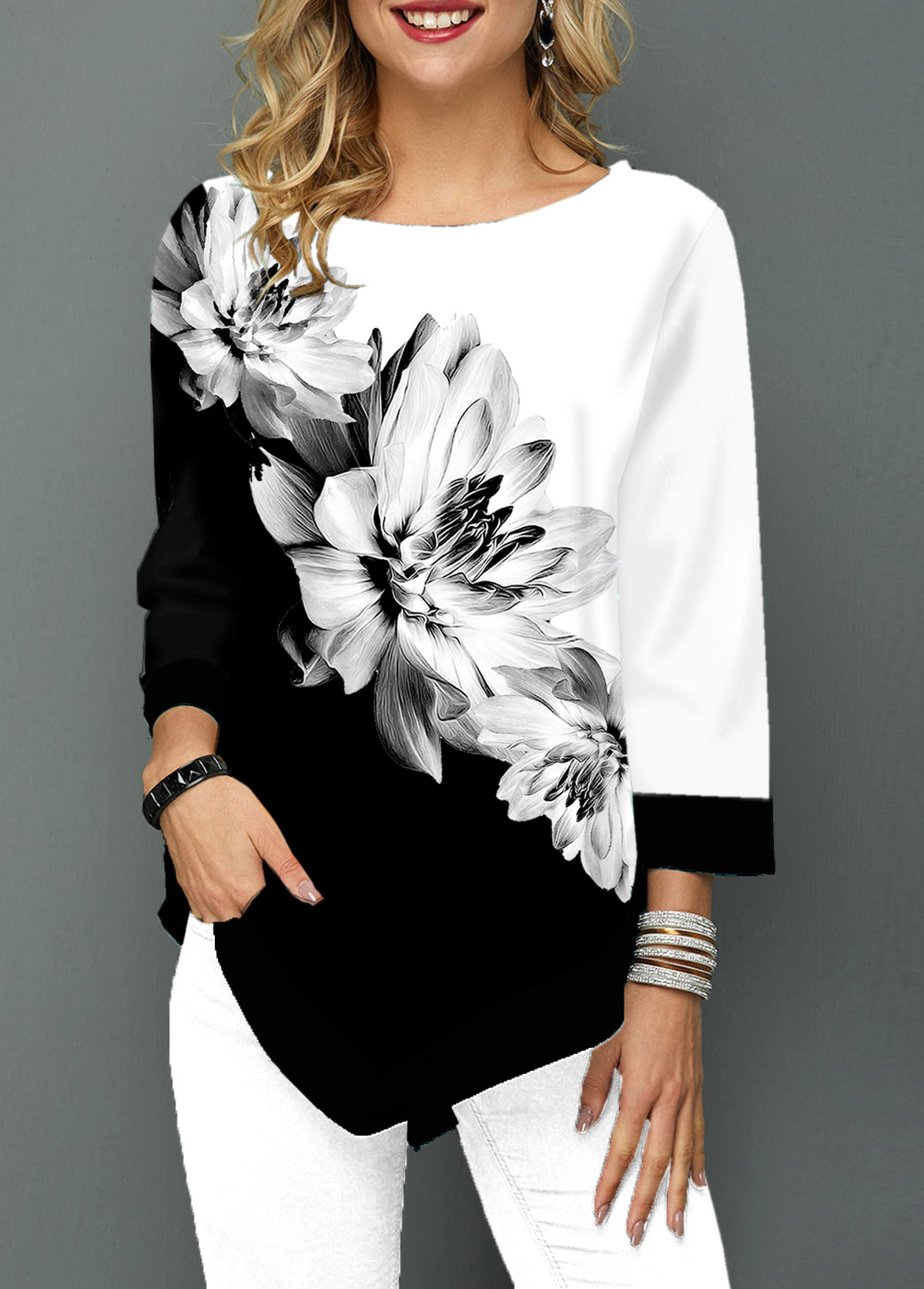 Asymmetric Hem Three Quarter Sleeve Flower Print T Shirt
