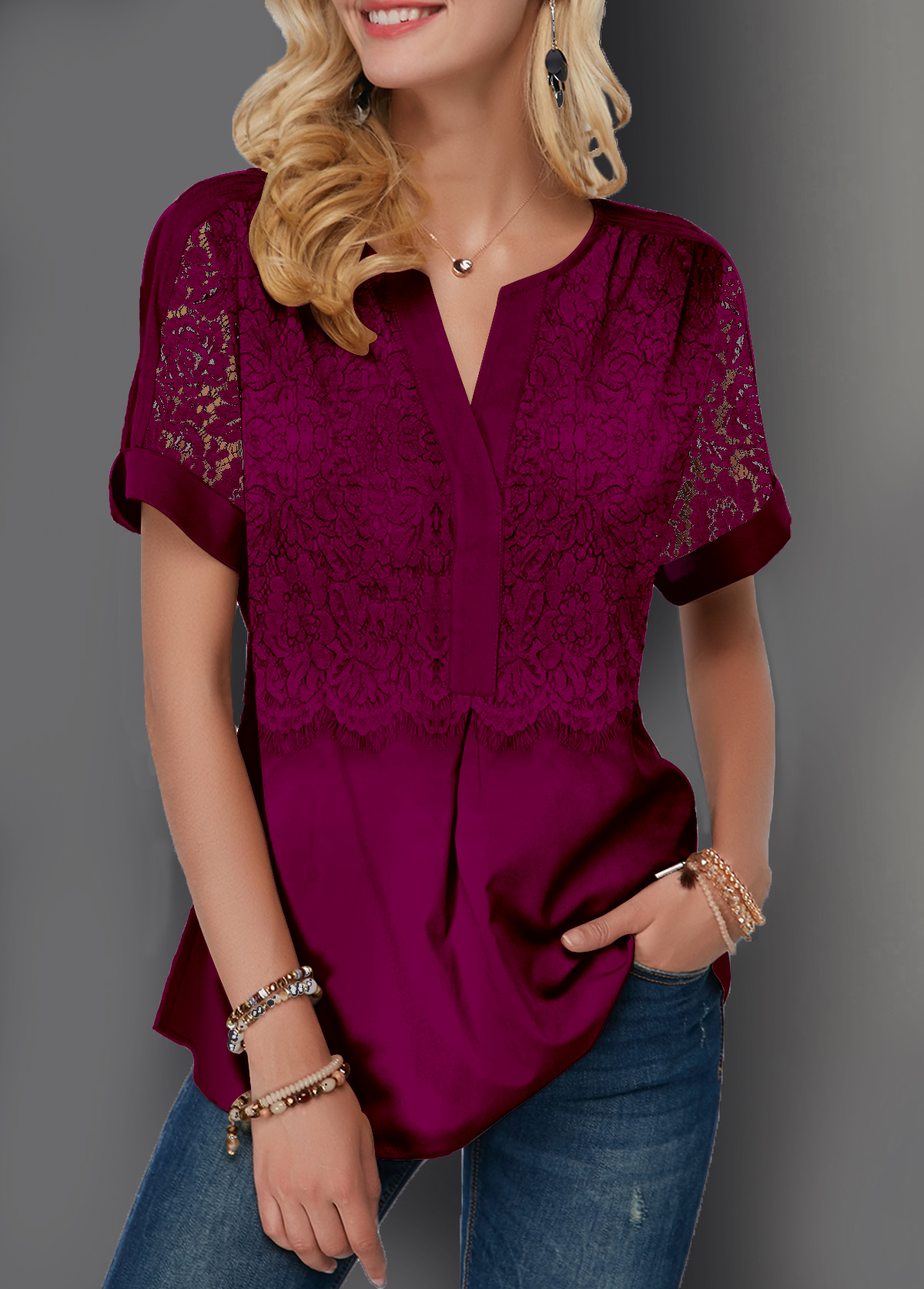 Lace Patchwork Split Neck Short Sleeve Blouse