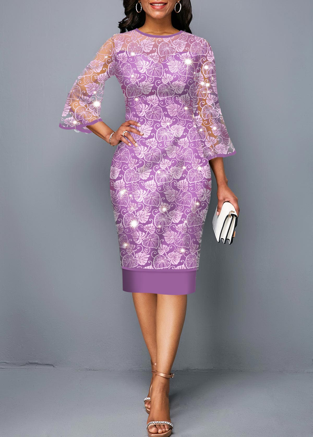 Three Quarter Sleeve Purple Round Neck Lace Dress