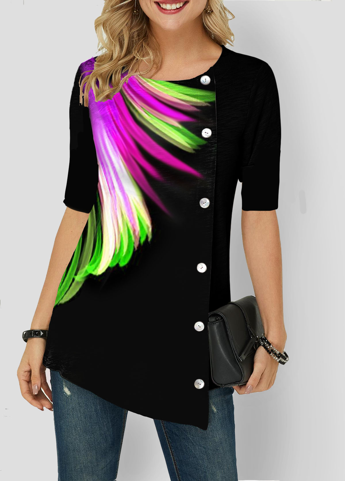 Button Detail Asymmetric Hem Feather Print T Shirt