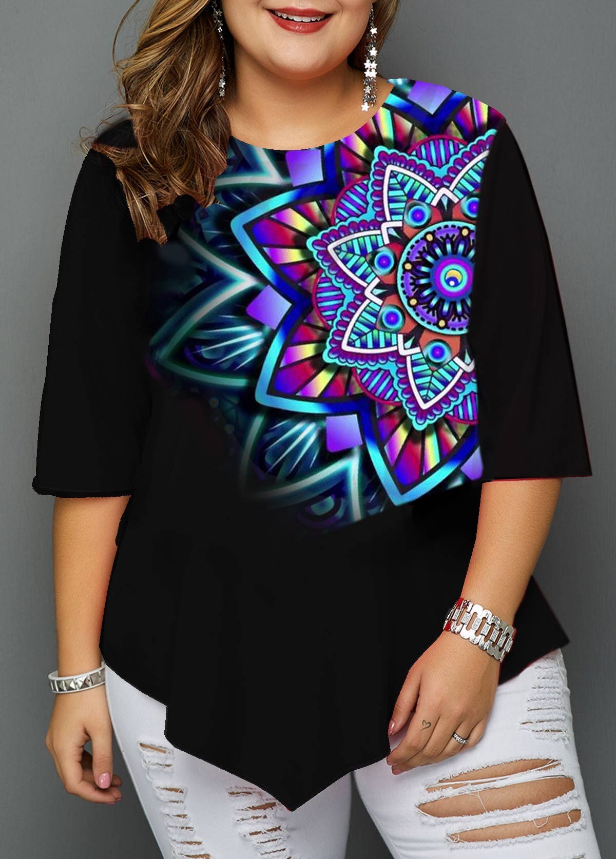 Asymmetric Hem Tribal Print Plus Size T Shirt