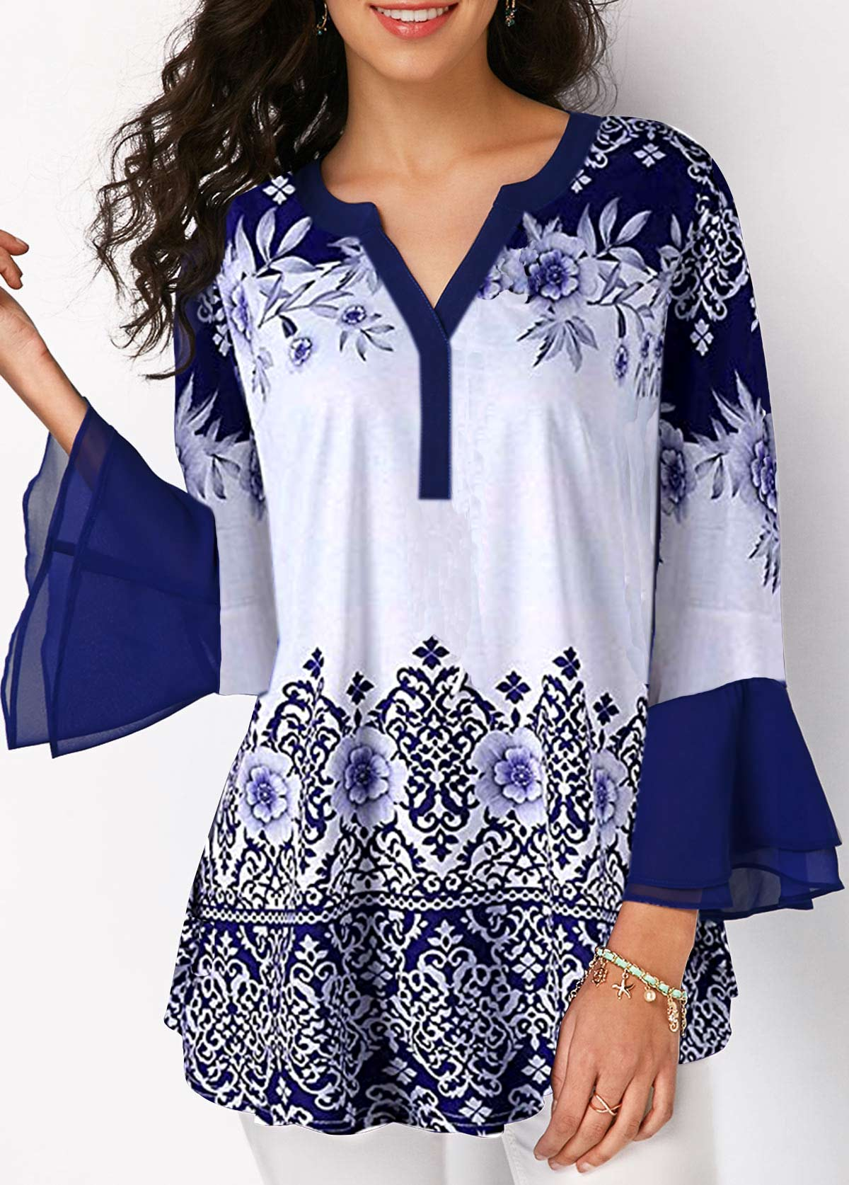 Flare Cuff Chiffon Panel Tribal Print Blouse