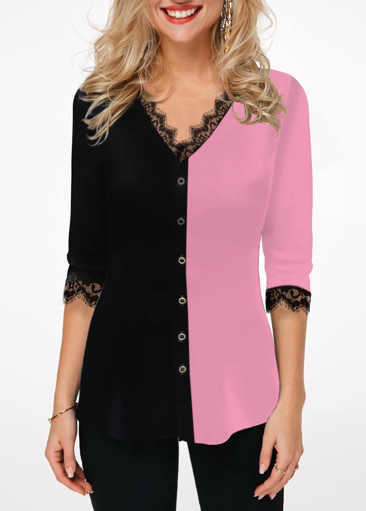 Lace Panel Color Block Button Front Blouse